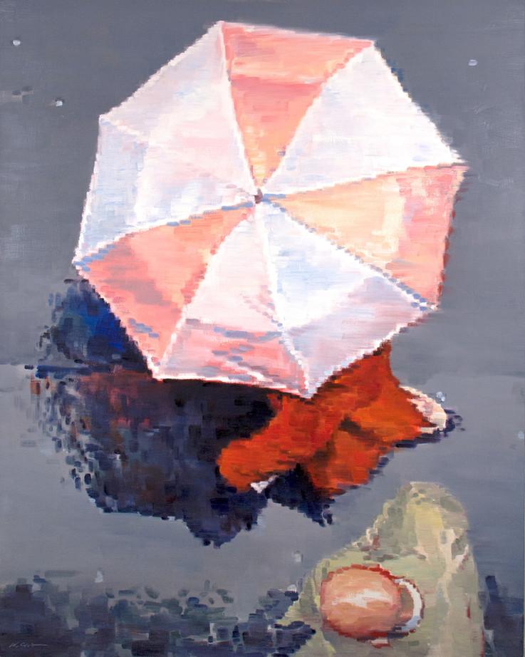 Woman in Red under Umbrella in Paris