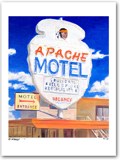 16x12 archival print Route 66 Neon Sign At Apache Motel