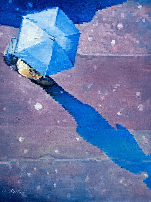 Blue Umbrella Casting a Shadow
