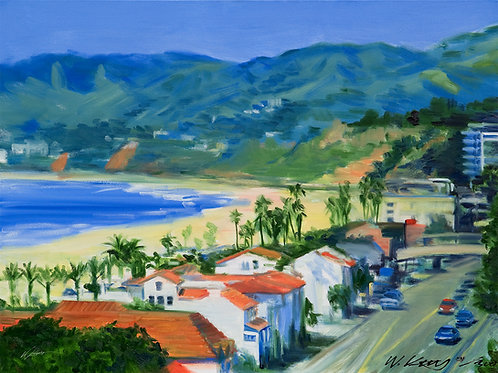 12x16 archival print Pacific Coast Hwy View of Santa Monica Beach