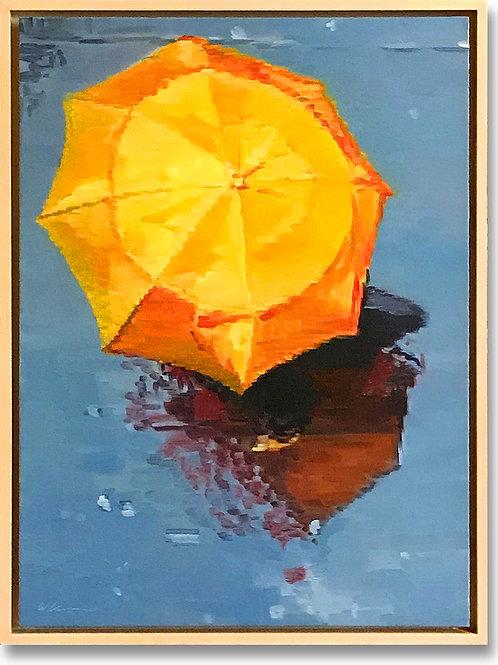 Woman under Orange Umbrella Running in the Paris Rain