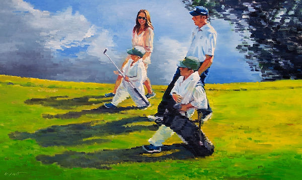 commissioned figurative paining portrait of PGA pro Matt Kuchar's family at the Masters