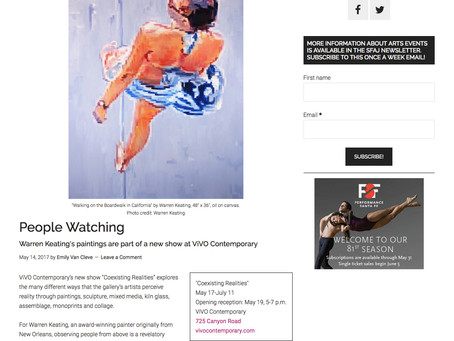 """""""People Watching"""" a review of my latest paintings in the Santa Fe Arts Journal"""