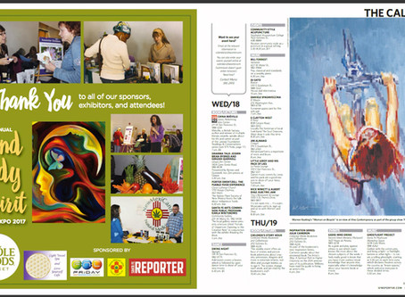 """Woman on Bicycle"" featured on the Calendar page of the Santa Fe Reporter"
