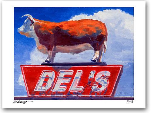 12x16 archival print Route 66 Neon Sign At Del's Diner, Tucumcari, NM