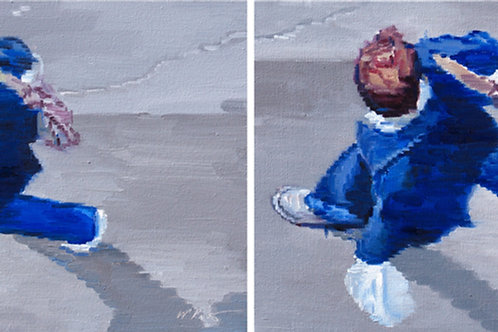 Man in Blue Walking Sequence Diptych