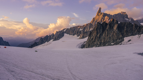 Sunset over Dent du Geant and Aiguille du Rochefort
