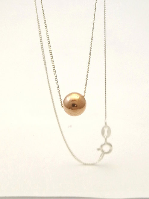 P106 Rose Gold  plated  silver Ball pendant
