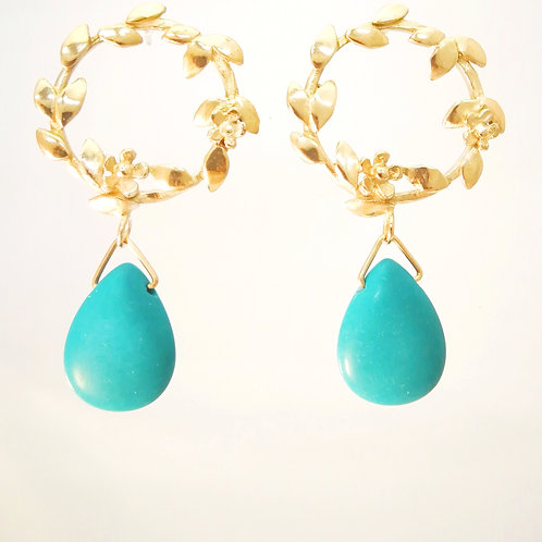 E121 Gold plated silver earrings with turquise