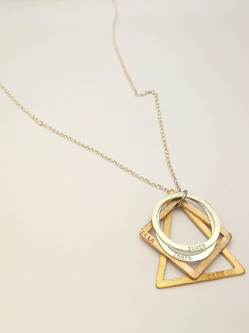 P111 silver and Gold plated shapes pendant