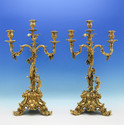 Victorian Sterling Silver Pair Of Gilt Candelabra