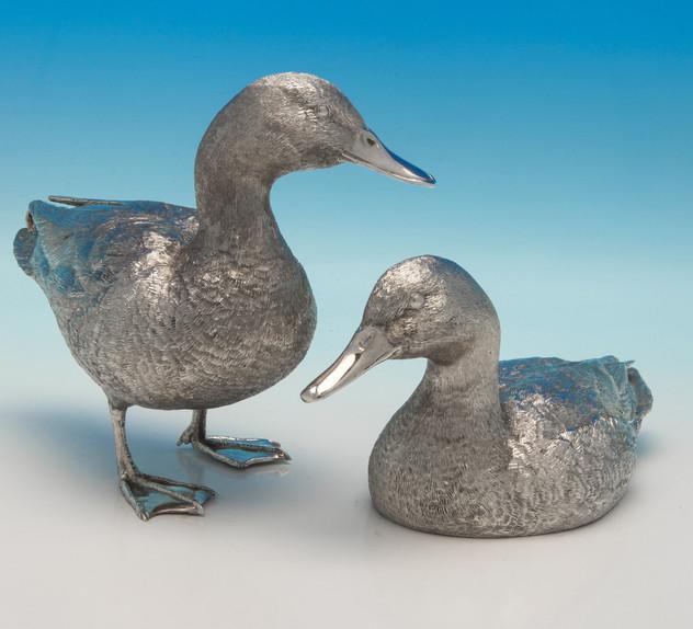 Elizabeth II Sterling Silver Pair Of Ducks