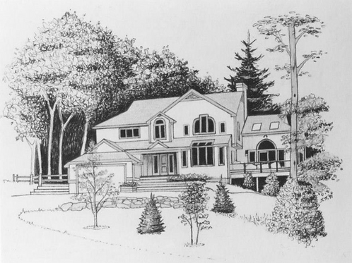 "Large B&W House Portrait 14""x11"""
