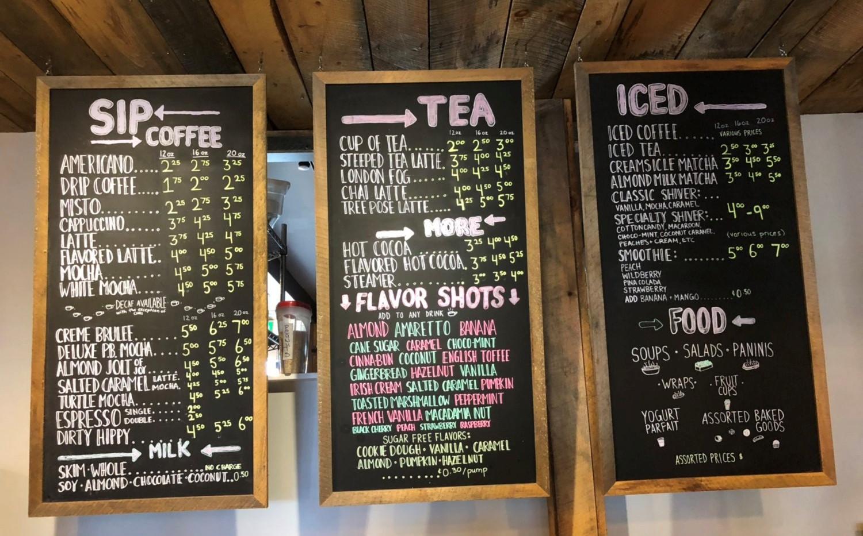 Sip Cafe Yarmouth Menu board