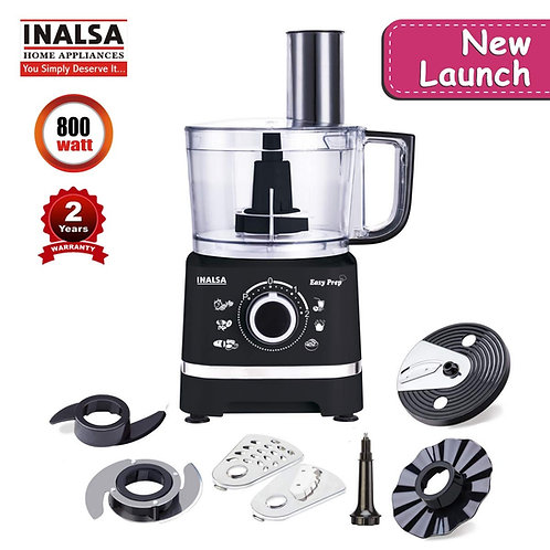 Inalsa Food Processor Easy Prep-800W with Processing Bowl & 7 Accessories,(Black