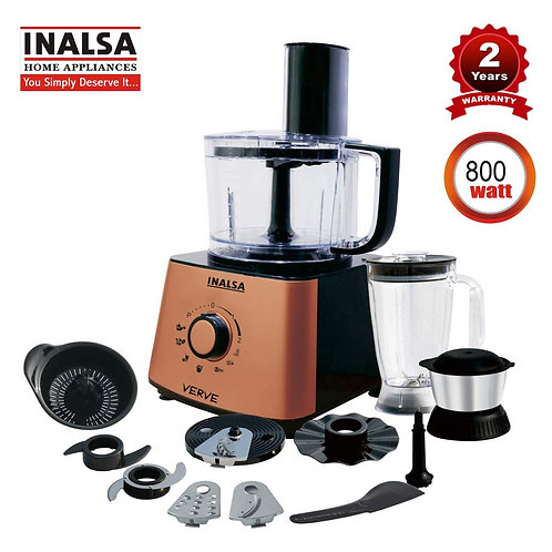 Inalsa Verve 800W Food Processor with 100% Pure Copper Motor| 2 Multipurpose Jar