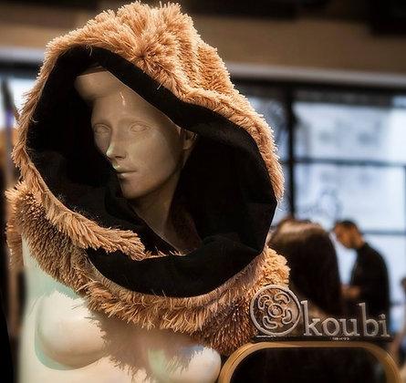 Hood Faux Fur Candy   Double Faced   Black Sweats