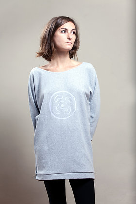 Olivia Long Tunic Sweats Grey | Violet Vinyl Print