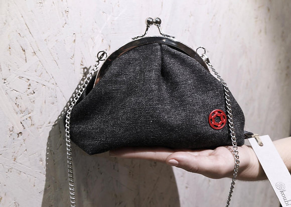 OldLady Bag | Jeans Grafite| Inox Frame + Chain