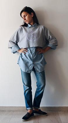 Olivia Crop Sweats Grey | Violet Vinyl Print