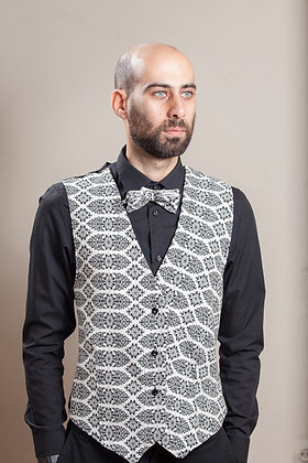 Vest Brokade | White+Black