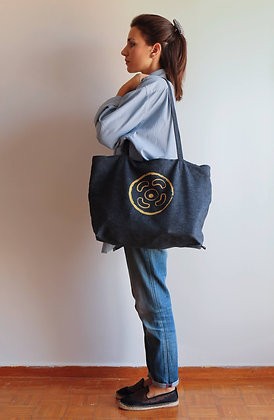 Jeans ShoppingBag Blue |XL| VinylPrint Gold-Silver