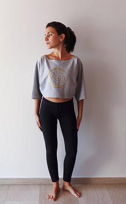 Olivia crop Sweats Grey | Vinyl print Gold