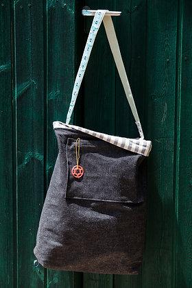 Shoulder Bag   DoubleFaced  Jeans   Navy  MintTape
