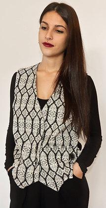 Vest Brocade White+Black | koubiMale