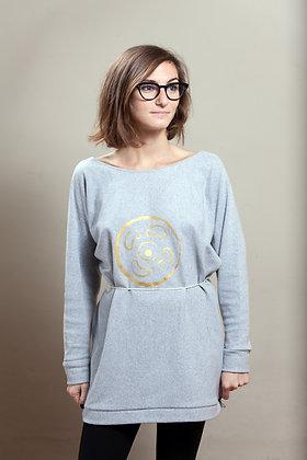 Olivia Long Tunic Sweats Grey | Gold Vinyl Print