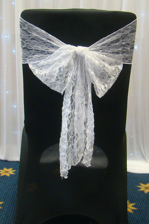 Black poly-stretch chair cover & lace sash