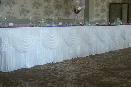 Top table skirt, swags and fairy lights