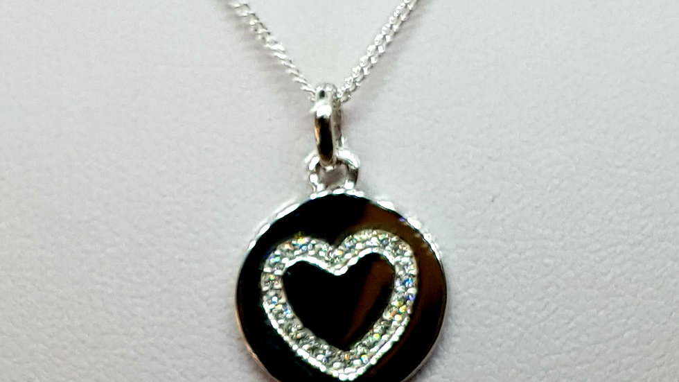 Cubic Zirconia Heart On Silver Disk