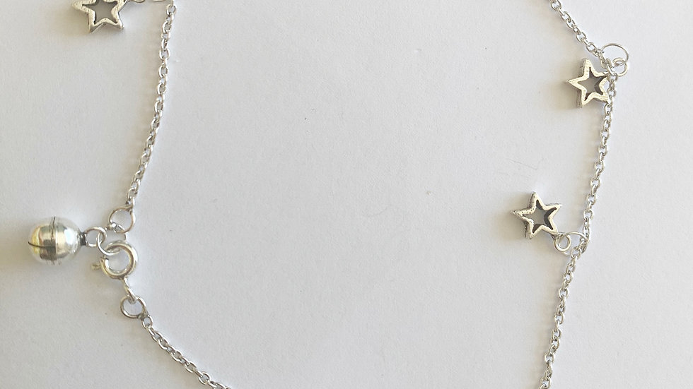 925 silver cut out stars anklet