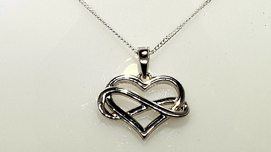 Silver Infinity Heart With Silver Chain