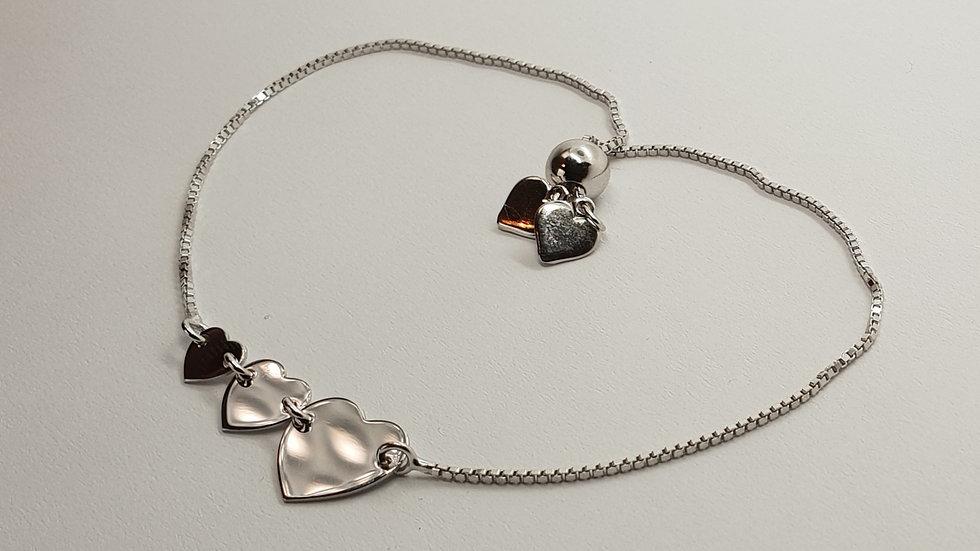 Triple Heart Silver Slider