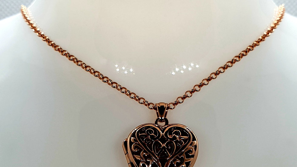 Rose Gold Filigree Locket