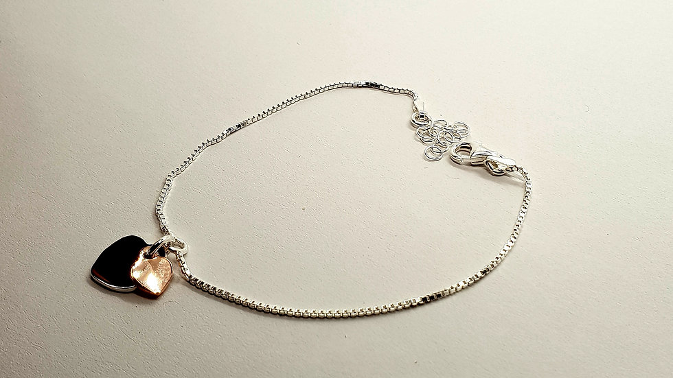 Silver And Gold Heart Box Bracelet