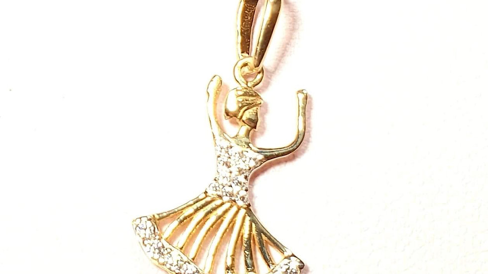 9ct gold dancing lady with detailed skirt