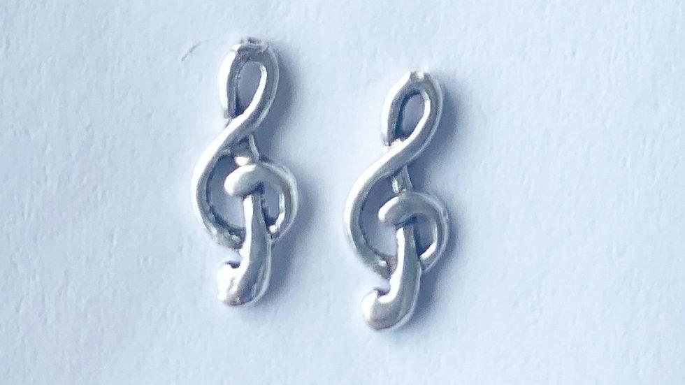 Treble clef earrings in 925 silver