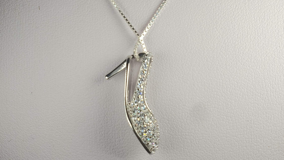 Silver sparkly shoe with cz