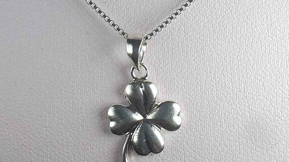Silver lucky 4 leaf clover with stem