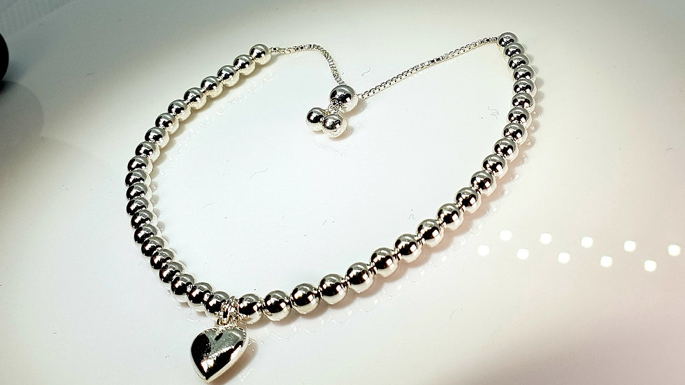 Silver Beaded Heart Slider