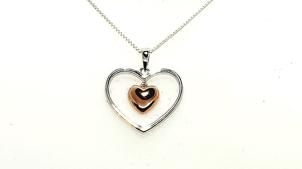 Silver Cutout Heart With Rose Inset