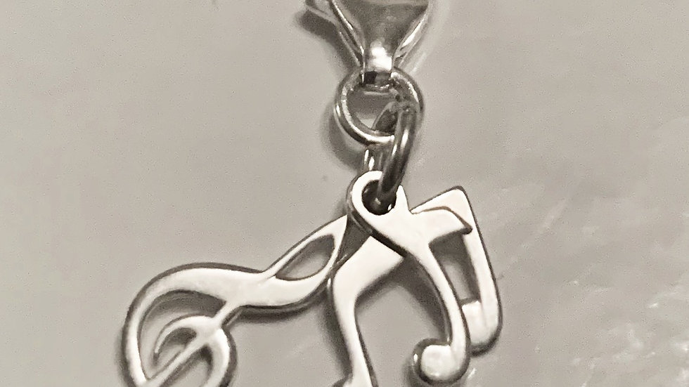 Musical notes clip on charm in silver