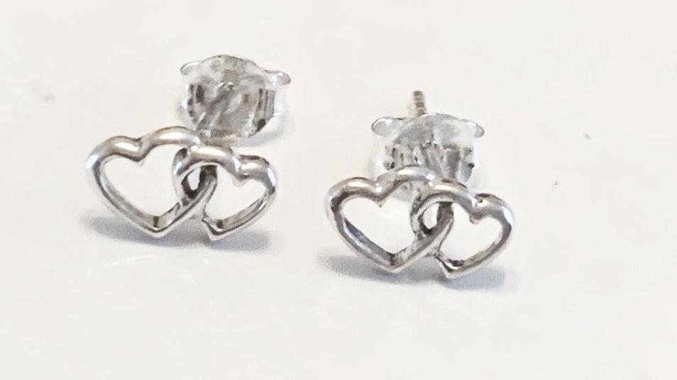 Entwined heart earrings in silver