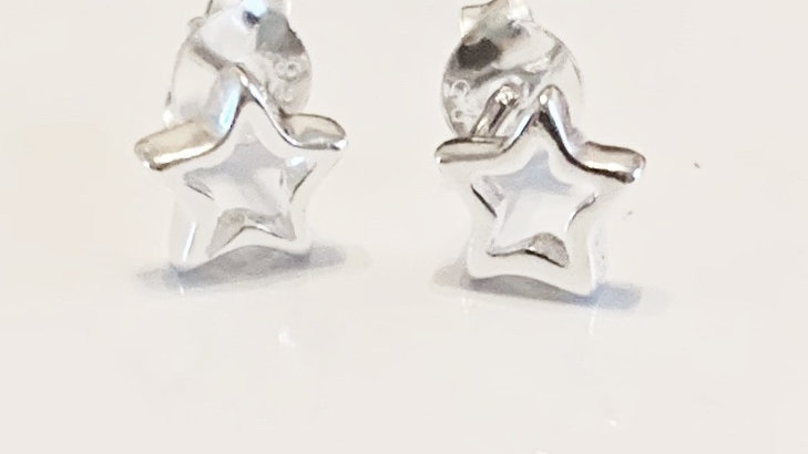 Silver cut out star studs
