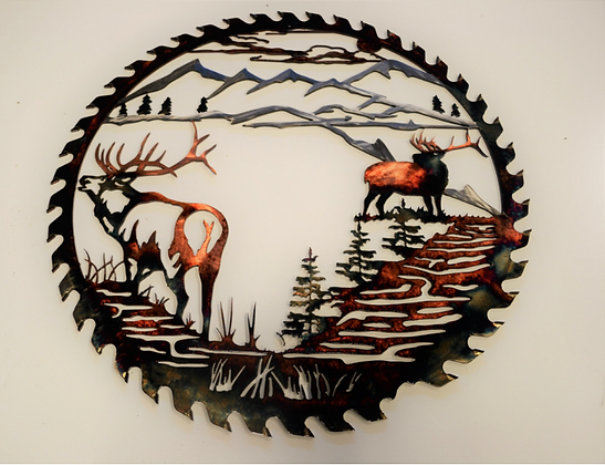 Sawblade Metal Art Twin Elk