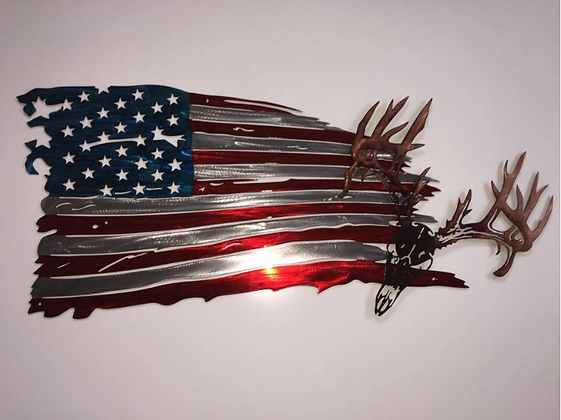 Tattered Flag Drop Tine Skull...(4 Sizes Available)