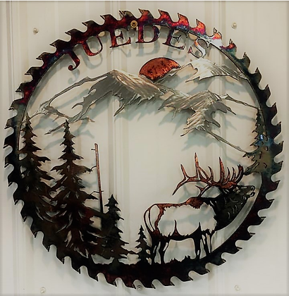 Sawblade Metal Art Mountain Elk Custom Name